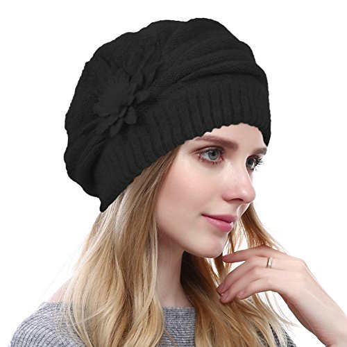 Women's Solid Knit Furry French Beret - Fall Winter Fleece Lined Paris Artist Cap Beanie Hat (Black)
