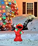 ProductWorks 18-Inch Pre-Lit Sesame Street Elmo in Green Santa Hat Christmas Yard Decoration, 35 Lights