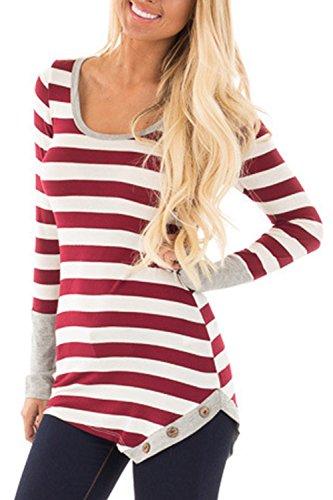Casual manga larga de la mujer rayas camiseta Tops 04