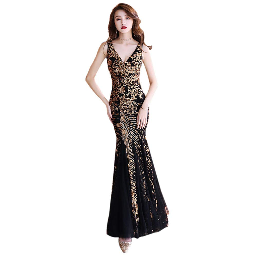 Drasawee Women's Long Straps Mermaid Evening Dress gold Embroidery Bodycon Party Dresses