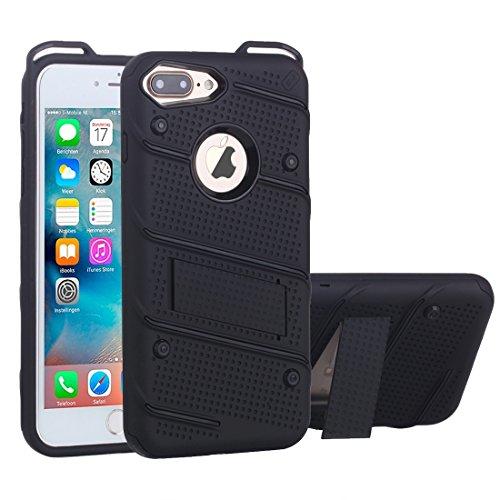 MXNET IPhone 7 Plus Case, Charm Knight Abnehmbare PC + TPU Kombination Schutzhülle mit Halter CASE FÜR IPHONE 7 PLUS ( Color : Black )