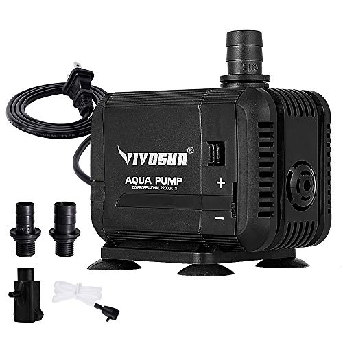 VIVOSUN 400GPH Submersible Pump(1500L/H, 15W), Ultra Quiet Water Pump with 5.2ft High Lift, Fountain Pump with 5ft Power Cord, 3 Nozzles for Fish Tank, Pond, Aquarium, Statuary, -