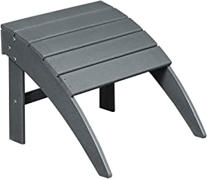 ET Ehomexpert Outdoor Adirondack Ottoman, Fit with Your Outdoor Adirondack Chairs, Weather Resistant- HDPE Hard Plastic, Grey