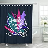 Make Your Own Shower Curtain Emvency Waterproof Fabric Shower Curtain Hooks Black Hand Drawn Lettering Phrases Make Your Own Luck Brush Day Extra Long 72