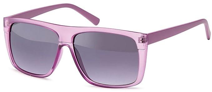 Wayfarer-Sonnenbrille mit transparentem Gestell und Verlaufsgläsern + Brillenbeutel- Damen und Herren (Flieder) CfpSpUN