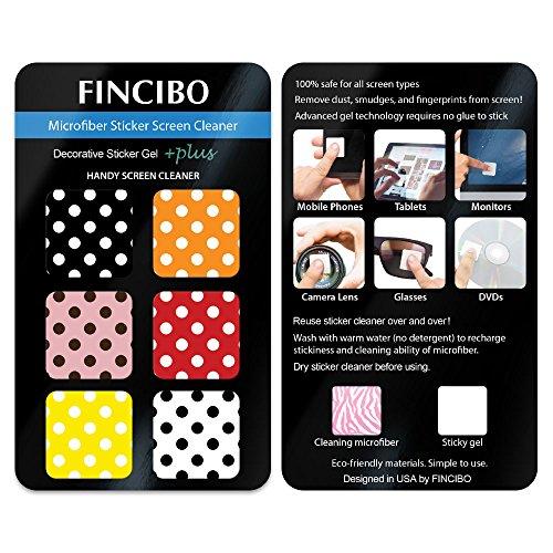 FINCIBO Screen Cleaner 6X Microfiber Sticker with Design for Smartphones, Tablets, iPad, Camera Lens, Computers, Laptop Screens - Set of 6pcs Polka Dots