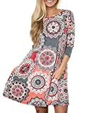 Women's 3/4 Sleeve Damask Floral Printed Tunic Dress Bohemian Swing Casual Midi Dress with Pocket Tunic Blouses for Leggings (Large, A Grey)