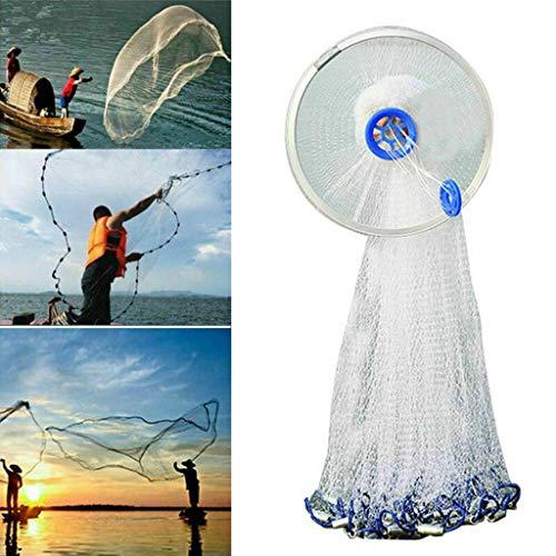 Chenway Fishing Cast Net with Aluminum/Steel Frisbee Fishing Cast Net 8ft Easy Throw, Freshwater Fishing Cast Ne, Good Helper for The Fisherman (Aluminum Frisbee)
