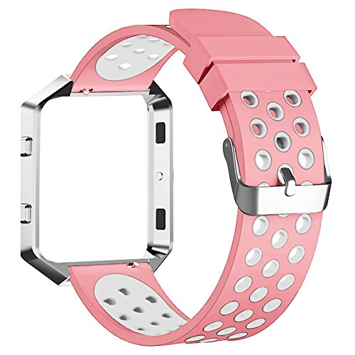 Fitbit Blaze Bands, FanTEK Extra Large Sport Silicone Replacement Adjustable Strap with Silver Frame for Fitbit Blaze Smart Fitness Watch, Pink and - Frame Solid Silver