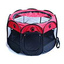 """Portable 2-Door Pet Playpen Indoor Outdoor Foldable Puppy Dog Cat Pop-up Water-Resistant Exercise Pen Fence Cage Tent Kennel 600D Oxford Cloth, 29""""x29""""x17"""" (Red&Black)"""