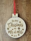 Mr and Mrs First Christmas Engraved Wood Ornament - 2017 - Wedding Gift