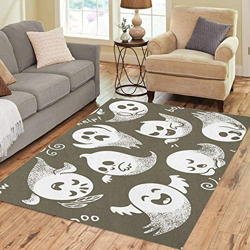 Semtomn Area Rug 2' X 3' Halloween of Cute Cartoon Ghosts Different Faces Pattern Boo Home Decor Collection Floor Rugs Carpet for Living Room Bedroom Dining Room]()