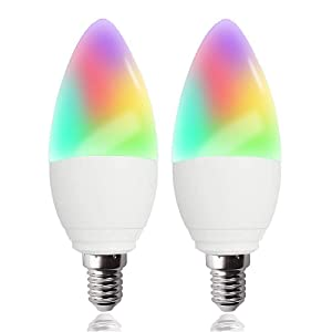 LED Candelabra Bulbs E12 Base, Color Changing and Dimmable Smart Light Bulb, Compatible with Alexa Google Home IFTTT, Tunable White Chandelier Light Bulbs 320 lm 35w Equivalent, 2 Pack