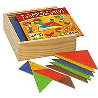 Tangram 10 jogos em M.D.F com cores diferentes 70 peças cx madeira