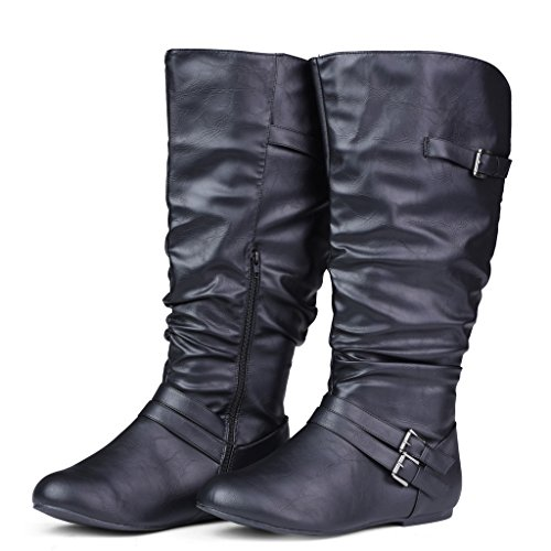 c672ff9e560 Twisted Women s SHELLY Wide Width Extended Calf Faux Leather Knee-High  Scrunch Buckle Strap