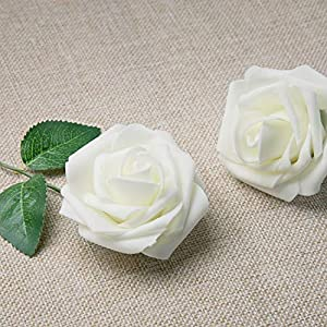 MoonLa Artificial Flowers Ivory Roses 50pcs Real Looking Fake Flowers Foam Roses w/Stem DIY Wedding Bouquets Centerpieces Baby Shower Party Home Decorations 2