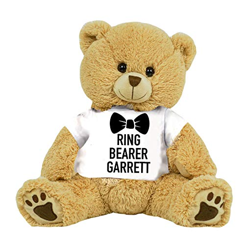 (PaperGala Personalized Ring Bearer Teddy Bear 16 inch Tan Plush Gift for Wedding Party)