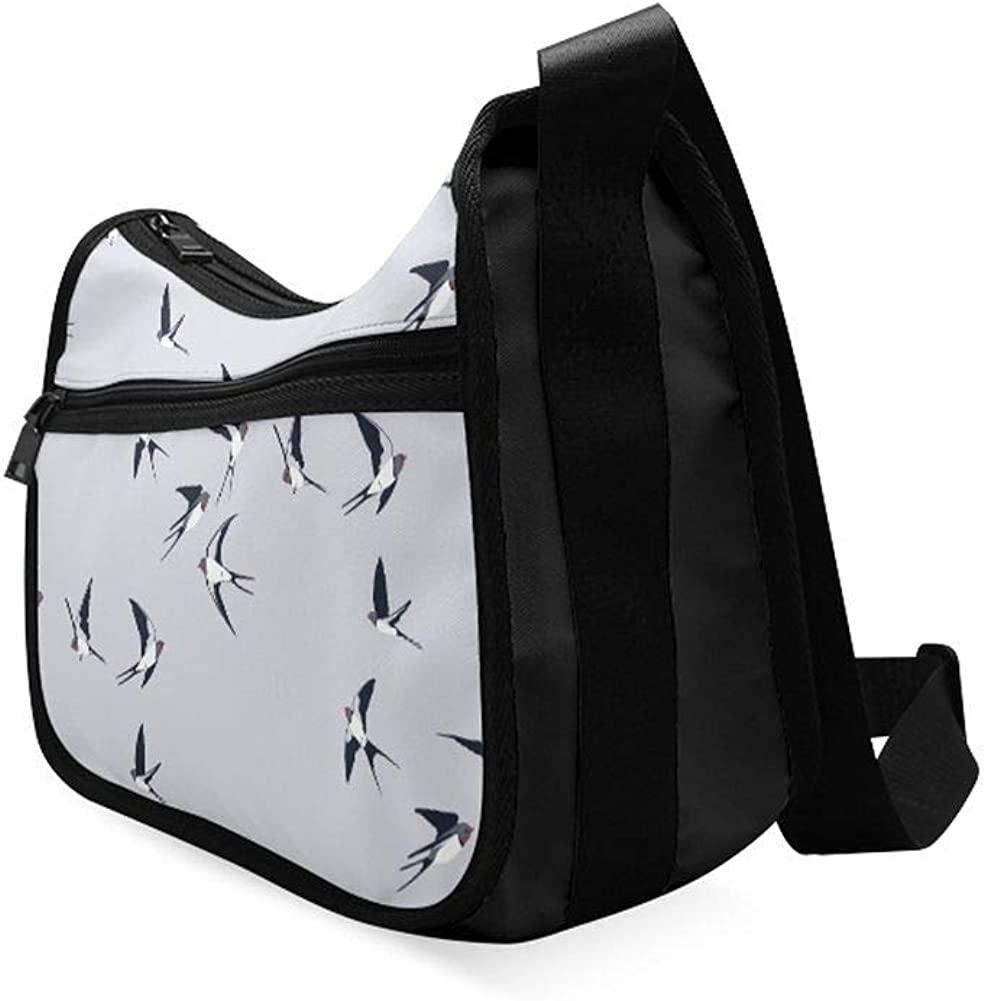 Many Swallows In Flight Messenger Bag Crossbody Bag Large Durable Shoulder School Or Business Bag Oxford Fabric For Mens Womens