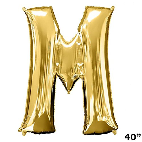 BalsaCircle Gold Letter M 40-Inch Tall Mylar Foil Balloon - Wedding Event Birthday Graduation Party Decorations -