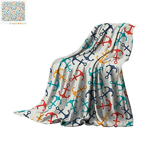 Luoiaax Anchor Warm Microfiber All Season Blanket Anchor Shape in Lines Tropics Getaway Ship Cruise Transport Repeating Tile Summer Quilt Comforter 60