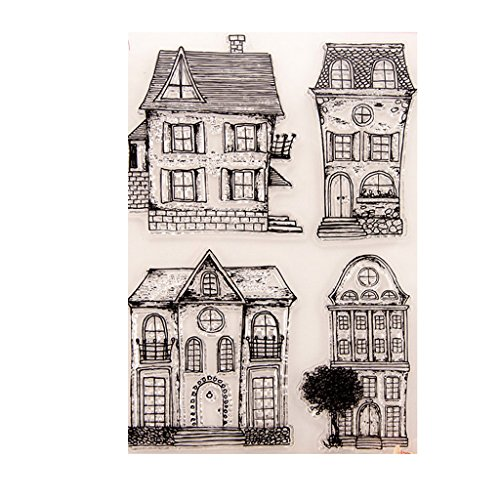 (ShapeW House Silicone Clear Stamp Scrapbook Album Home Decor Gift Card Kid Adult)