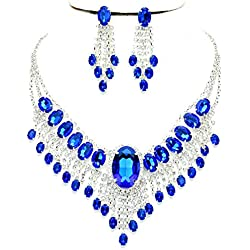 Affordable Wedding Jewelry Royal Blue Clear Rhinestone Cascade Earrings Silver Necklace Set