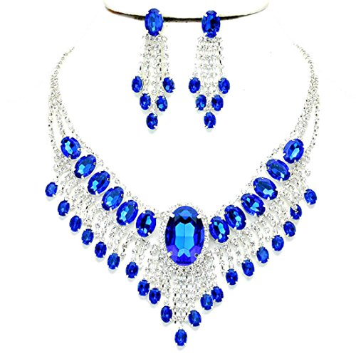 Affordable Wedding Jewelry Royal Blue Clear Rhinestone Cascade Earrings Silver Necklace Set by Blue Ice, Affordable Wedding Jewelry