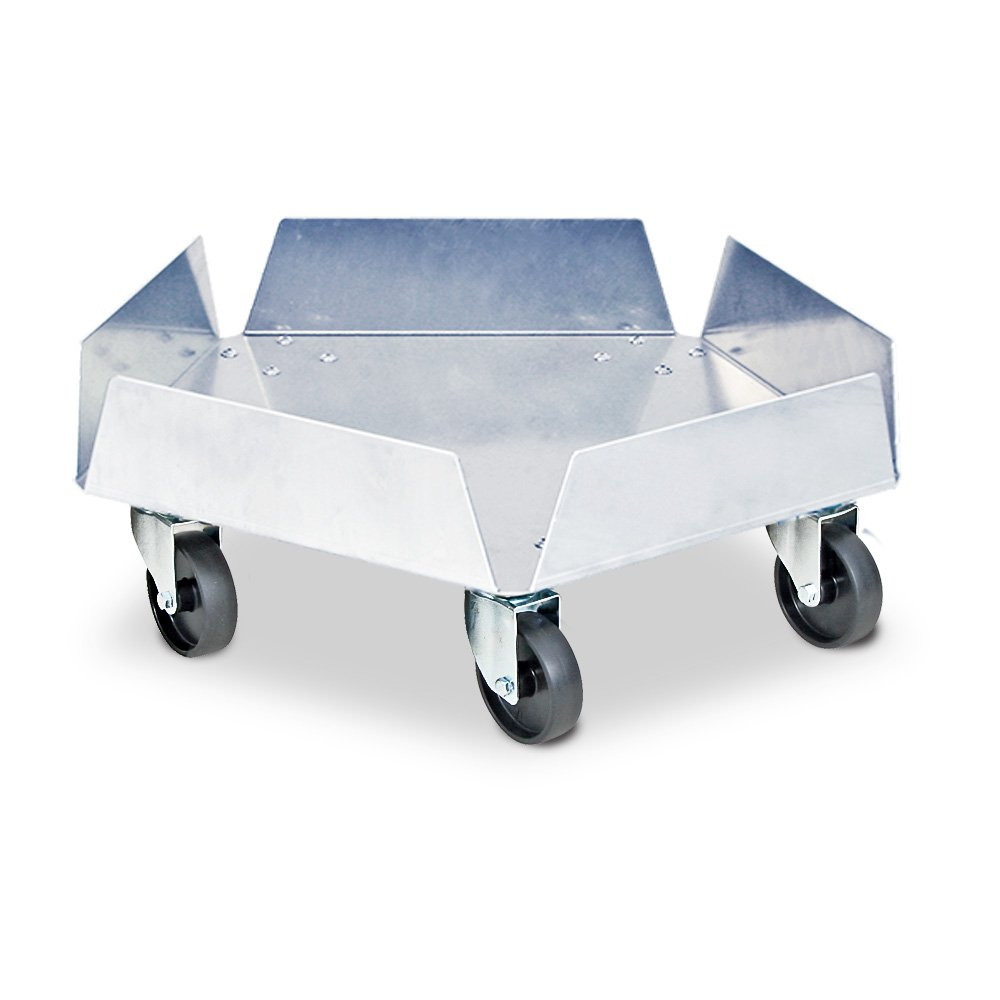 Tonnenroller aus Edelstahl, Außen-Ø 512 mm, Tragkraft 250 kg, mit verzinkten Lenkrollen und 5 schwarzen Kunststoffrädern Ø 75 mm