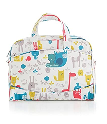 Pirulos 47112220 - Bolso, diseño happy zoo, 42 x 30 x 14 cm, color blanco y gris