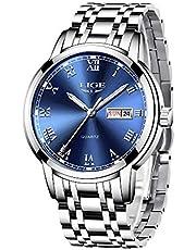 LIGE Hombre Reloj Impermeable Acero Inoxidable Cuarzo Analógico Relojes Moda Deportivos Calendario Reloj para Hombre