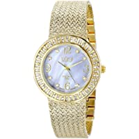 Burgi Women's BUR097YG Crystal Accented Yellow Gold Swiss Quartz Watch with Gray Mother of Pearl Dial and Yellow Gold Bracelet
