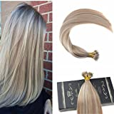 Ugeat 20inch 50 Gram Nano Ring Beads Remy Hair Extensions Piano Color Ash Blonde 18 Mix Color 613 Highlighted Color Real Hair Extensions with Nano Beads