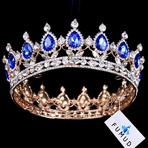 Gold Plated Crown (FUMUD Gold Plated Royal Regal Blue Rhinestones Quinceanera Vintage Luxury Tiaras And Crowns Wedding Party Accessories)