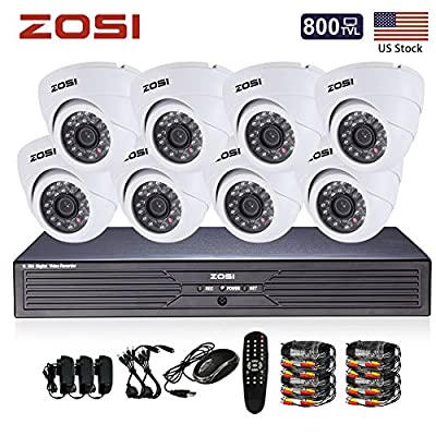 ZOSI 8CH CCTV System Kit 960H Recording Home Security DVR 8PCS HD 800TVL 24IR Indoor Day&Night Color CMOS Cameras 65ft Night Vision Surveillance Smart Phone Remote Viewing Security Kit NO HDD
