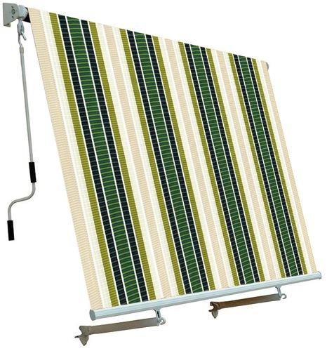 Tenda Da Sole Per Balcone Con Sistema A Caduta Ecru Verde 250x250 Cm