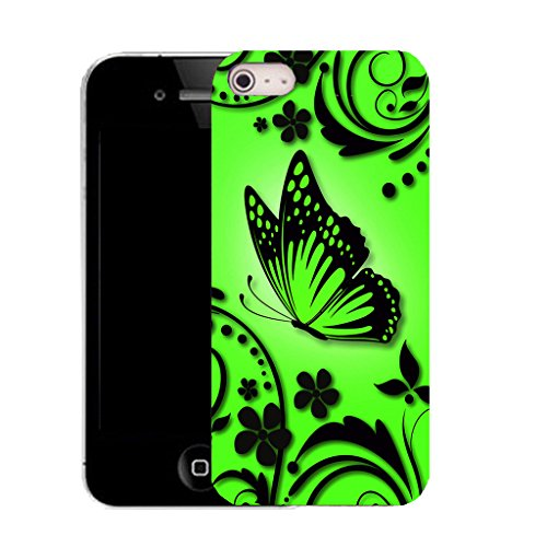 Mobile Case Mate IPhone 5 clip on Silicone Coque couverture case cover Pare-chocs + STYLET - GREEN CARESS pattern (SILICON)