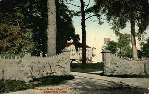 Entrance Gates Manor School Stamford, Connecticut Original Vintage Postcard (Manor Gate Gate Manor)