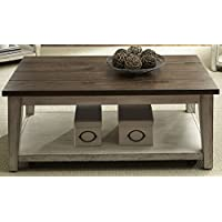 Liberty Furniture 612-OT1010 Lancaster Cocktail Table, 48 x 26 x 19, Weathered Bark Finish with White Hang Up