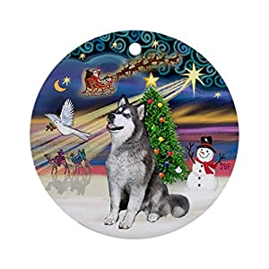 CafePress Xmasmagic Alaskan Malamute (Blue) Ornament (Round) Round Holiday Christmas Ornament 26