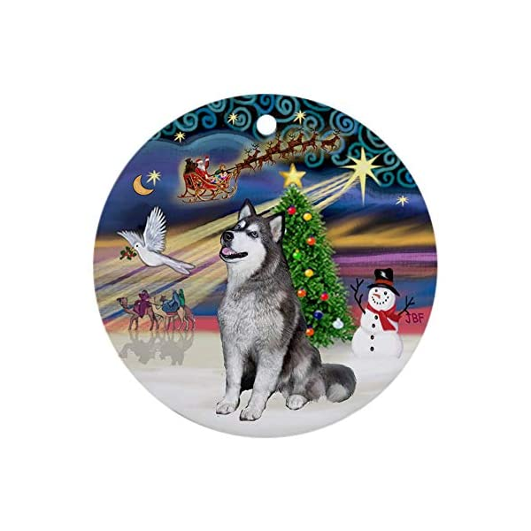 CafePress Xmasmagic Alaskan Malamute (Blue) Ornament (Round) Round Holiday Christmas Ornament 1