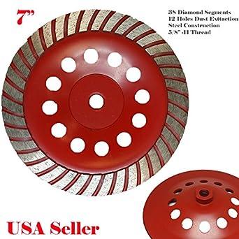 "7/"" Turbo Diamond Cup Wheel for Concrete Stone Masonry Grinding 5//8/""-11 Arbor"