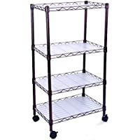 H&B Luxuries 4 Tiers Adjustable Wire Metal Shelving Rack with Casters