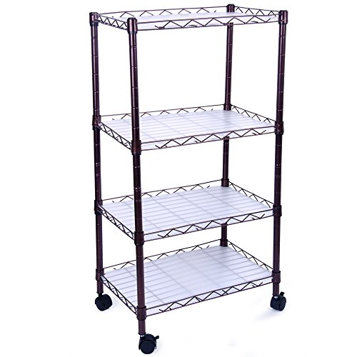 H&B Luxuries 4 Tiers Adjustable Wire Metal Shelving Rack with Casters WSR04 by H&B Luxuries