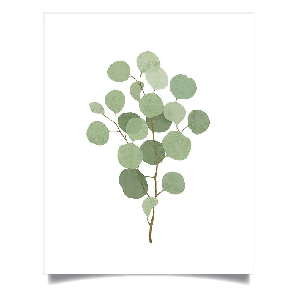 Set of 2, 5x7 Prints Green Leaf Art for Kitchen Bedroom Bath