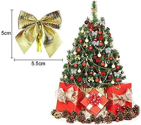 DECARETA 72 Pack Mini Lazo de Árbol de Navidad Adornos de Lazo de Cinta para Decoración Colgante de Árbol de Navidad para manualidades y manualidades, Decoración, Envolver regalos (5,5 x 5 cm):