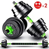 5KGX2,7.5KGX2 Weight Set for Weightlifting and Body Building Hex Rubber Weights Workout Adjustable Dumbbells Set Metal Ergonomic Handles Prevent Rolling and Injury for Home Gym Exercise Men Women