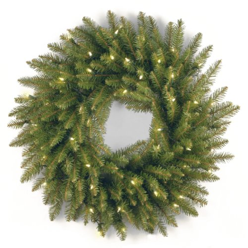 (National Tree 24 Inch Dunhill Fir Wreath with 50 Clear Lights (DU-24WLO-1) )