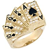 10k Real Solid Gold CZ Royal Flash Poker Enamel Lucky Large Mens Ring