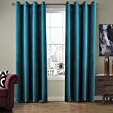 SeeSaw Home Super Soft Premium Solid Matt Velvet Thermal Insulated Nickel Grommet Curtains for Bedroom or Living Room, 50W By 108L Inch, Set of 2 Panels, Blue
