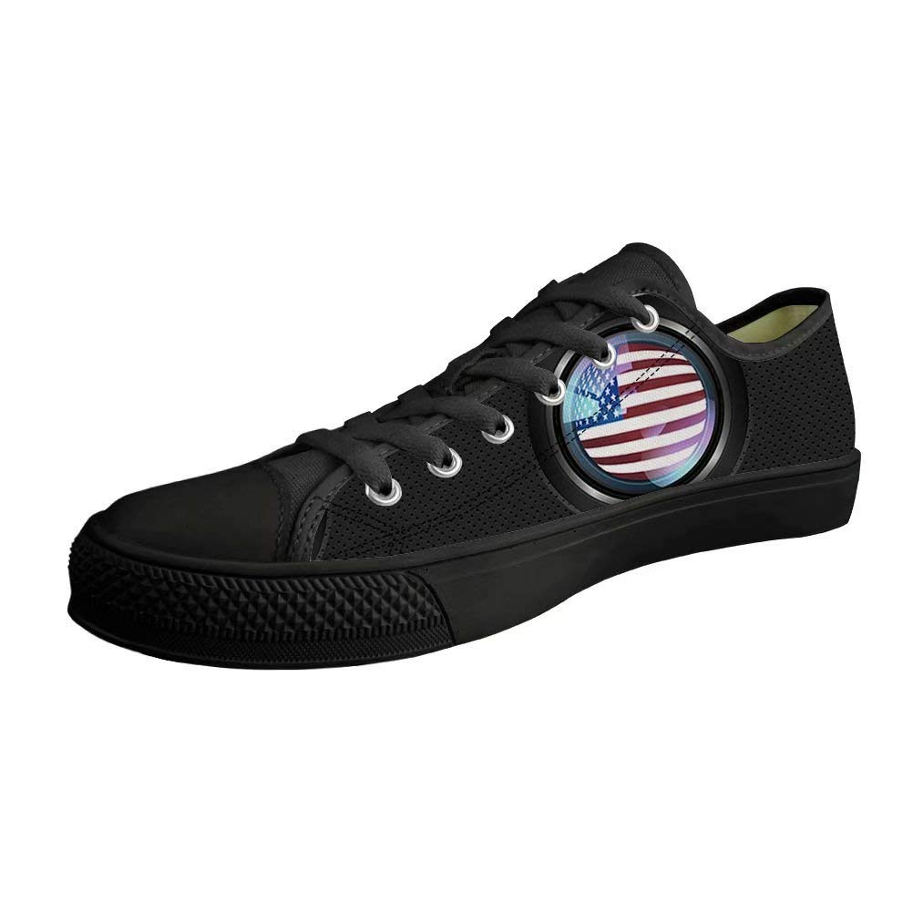 Dellukee Youth Fashion Sneakers Men Flag Black Lace Up Low Top Casual Canvas Walking Shoe